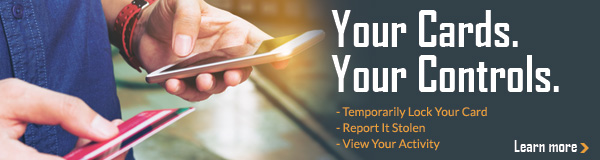 Your Cards. Your Controls. Temporarily Lock Your Card, Report It Stole, or View Your Activity. Learn More!