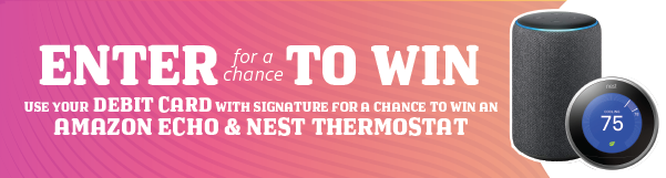 Use your debit card with signature for a chance to win an Amazon Echo & Nest Thermostat